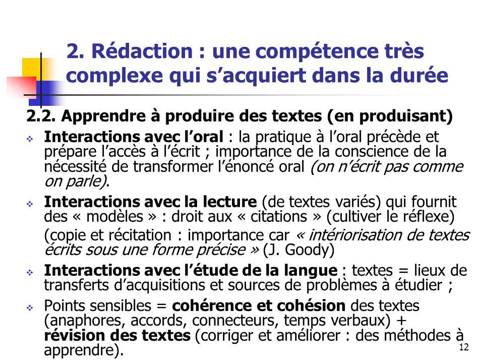 2. Rédaction : une compétence très complexe qui s'acquiert dans la durée