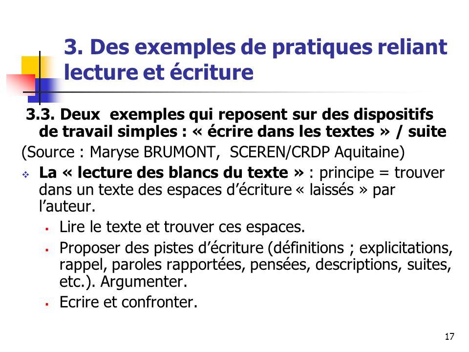 3. Des exemples de pratiques reliant lecture et écriture