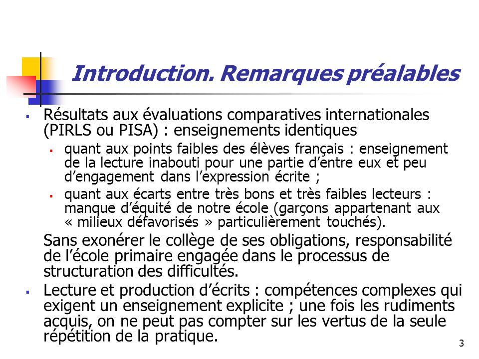 Introduction. Remarques préalables