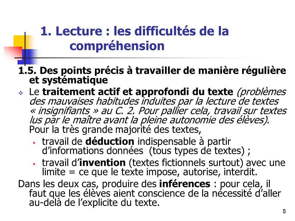 1. Lecture : les difficultés de la compréhension