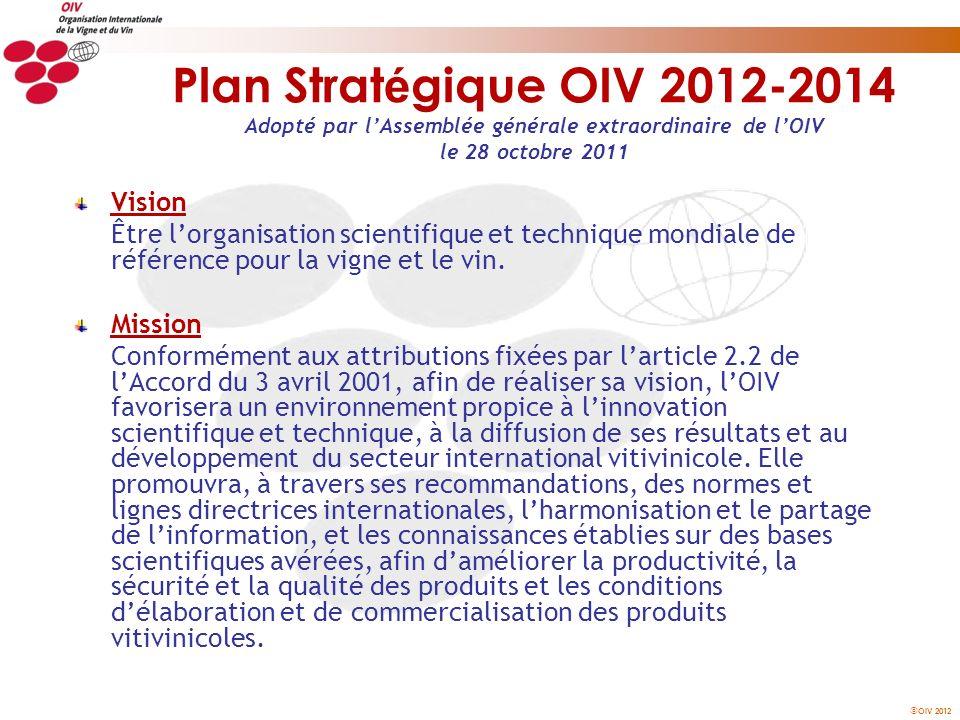 Plan Stratégique OIV 2012-2014 Adopté par l'Assemblée générale extraordinaire de l'OIV le 28 octobre 2011