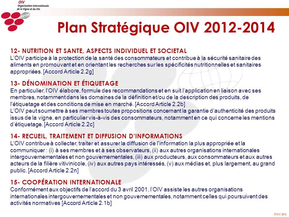 Plan Stratégique OIV 2012-2014 12- NUTRITION ET SANTE, ASPECTS INDIVIDUEL ET SOCIETAL.