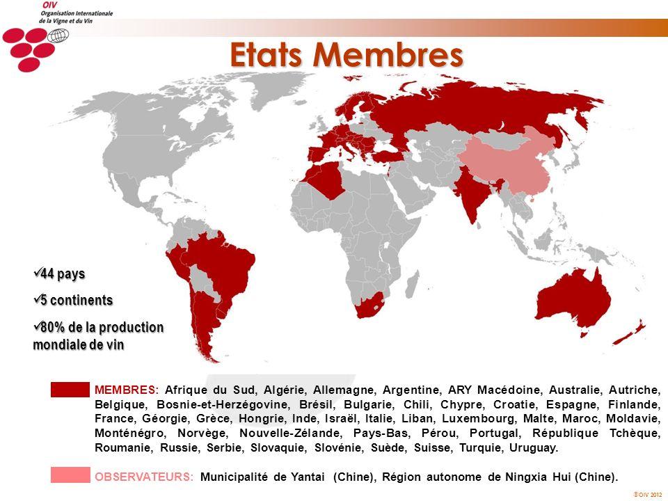 Etats Membres 44 pays 5 continents