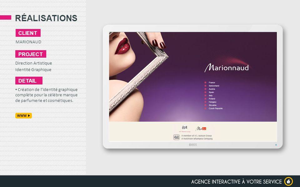 RÉALISATIONS client project detail MARIONAUD Direction Artistique