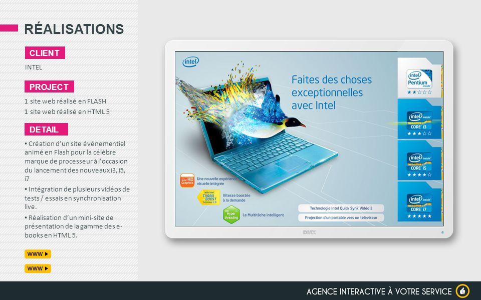 RÉALISATIONS client project detail INTEL 1 site web réalisé en FLASH