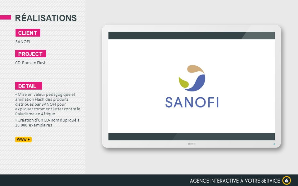 RÉALISATIONS client project detail SANOFI CD-Rom en Flash