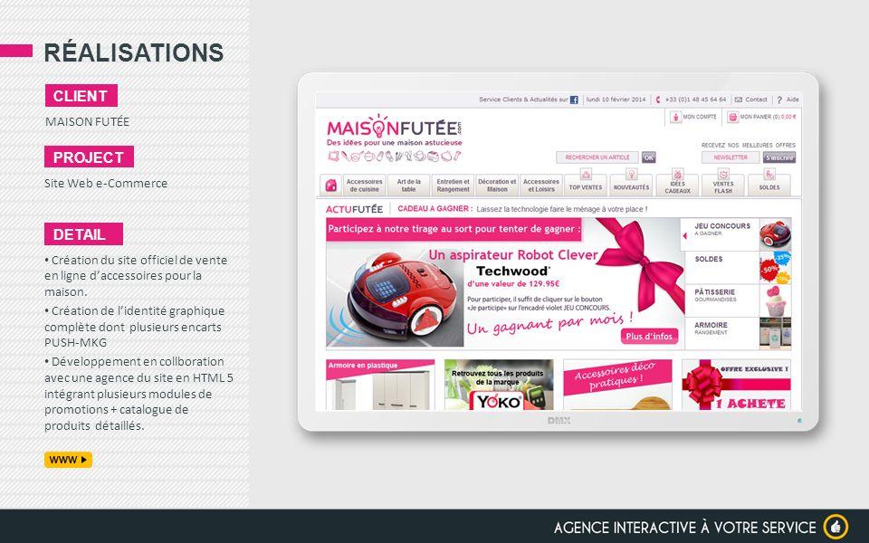 RÉALISATIONS client project detail MAISON FUTÉE Site Web e-Commerce