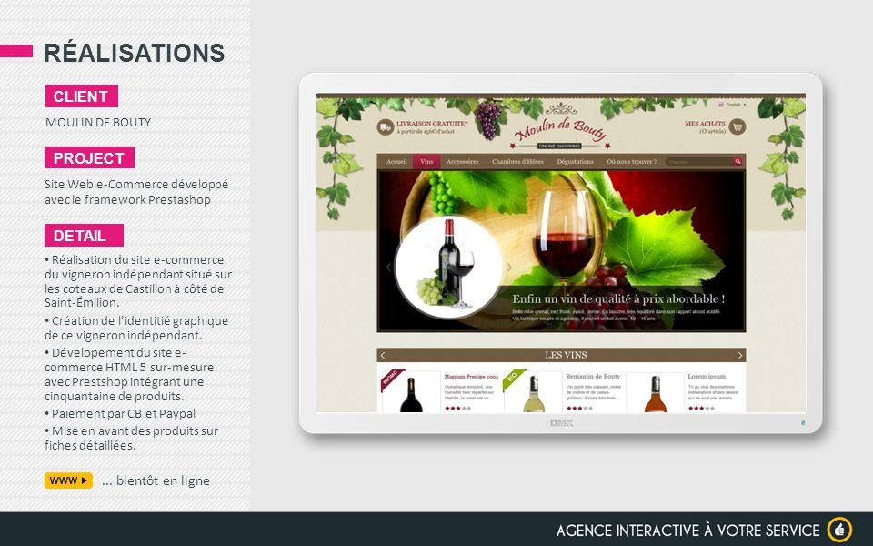 RÉALISATIONS client project detail ... bientôt en ligne
