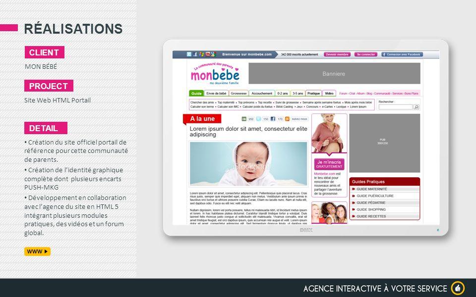 RÉALISATIONS client project detail MON BÉBÉ Site Web HTML Portail