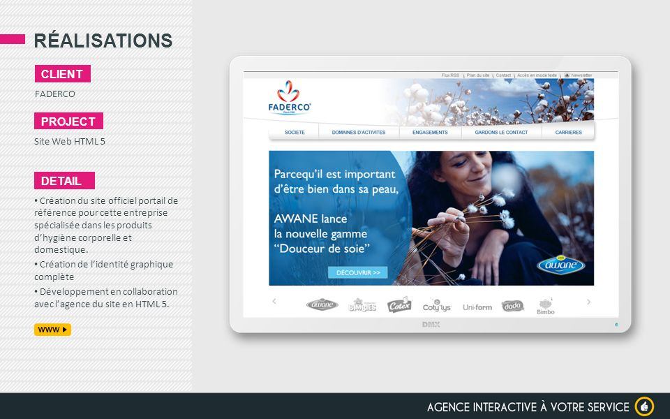 RÉALISATIONS client project detail FADERCO Site Web HTML 5