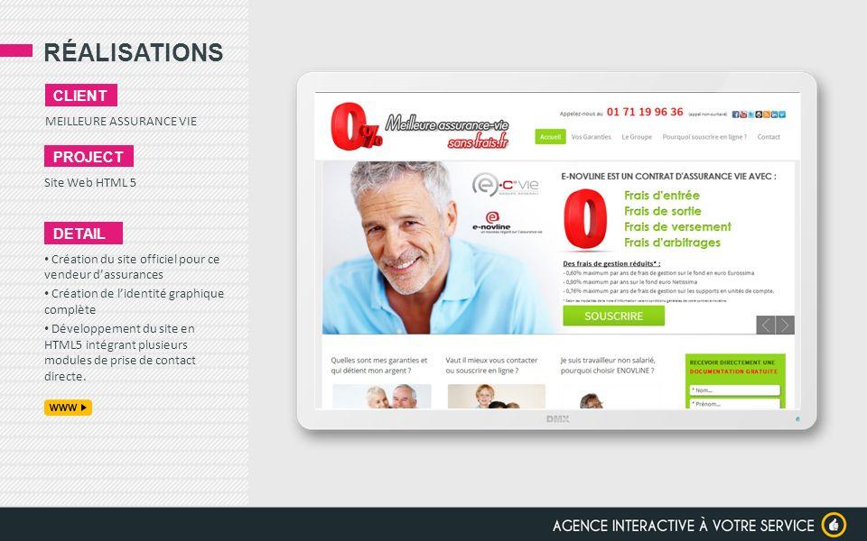 RÉALISATIONS client project detail MEILLEURE ASSURANCE VIE