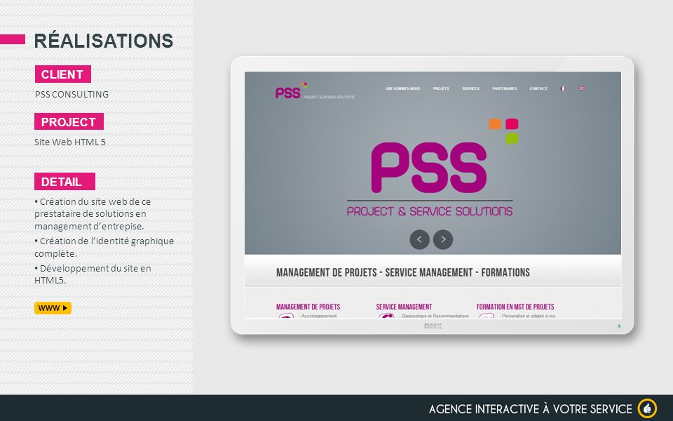 RÉALISATIONS client project detail PSS CONSULTING Site Web HTML 5