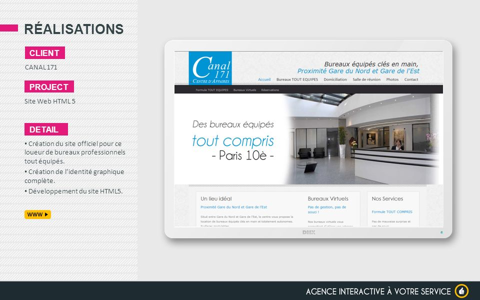 RÉALISATIONS client project detail CANAL 171 Site Web HTML 5
