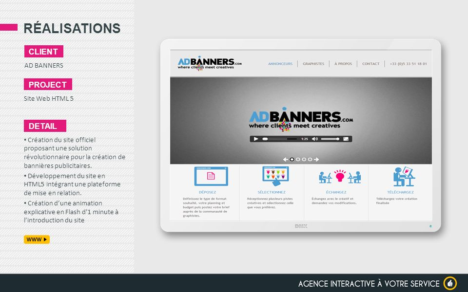 RÉALISATIONS client project detail AD BANNERS Site Web HTML 5