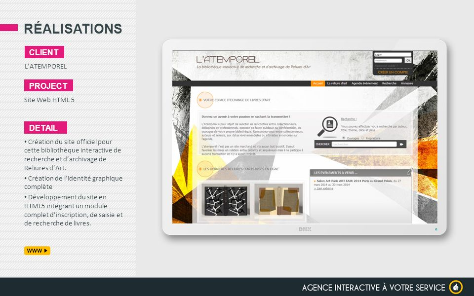 RÉALISATIONS client project detail L'ATEMPOREL Site Web HTML 5