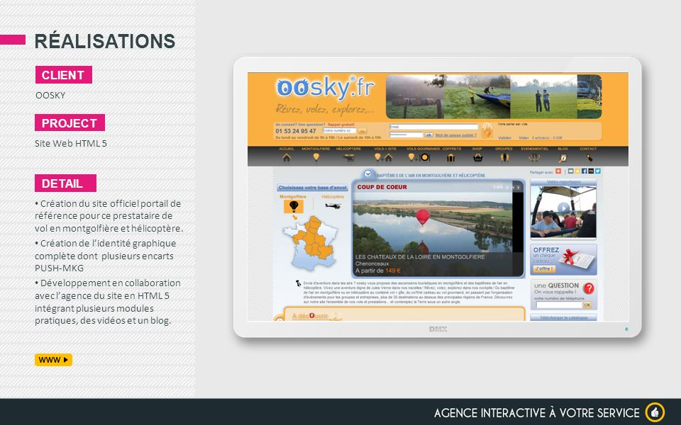 RÉALISATIONS client project detail OOSKY Site Web HTML 5
