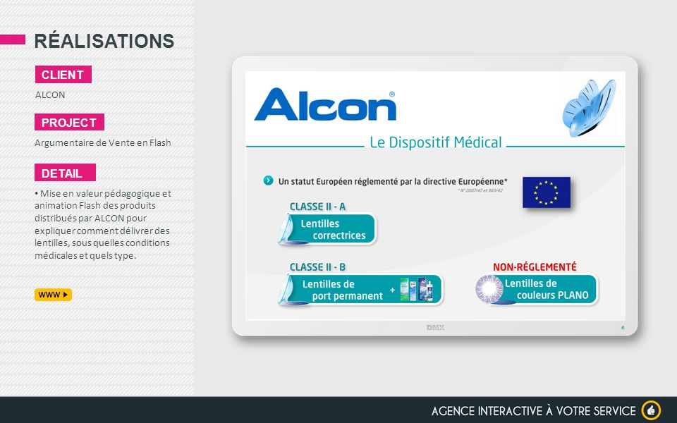 RÉALISATIONS client project detail ALCON