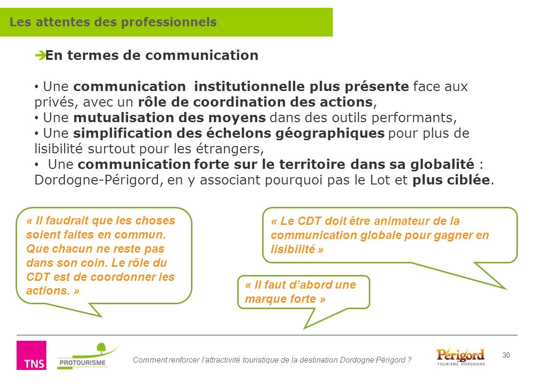 En termes de communication