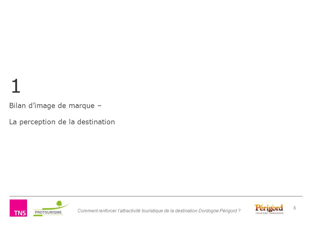Bilan d'image de marque – La perception de la destination