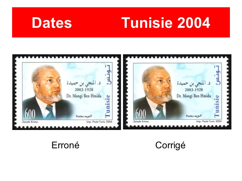 Dates Tunisie 2004 Erroné Corrigé