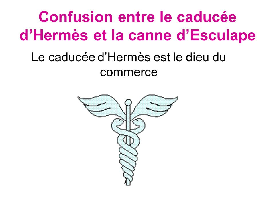 Confusion entre le caducée d'Hermès et la canne d'Esculape