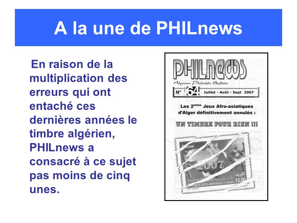 A la une de PHILnews