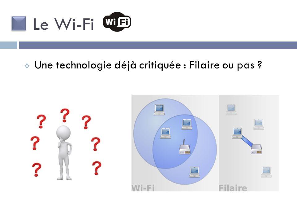 Le Wi-Fi Une technologie déjà critiquée : Filaire ou pas
