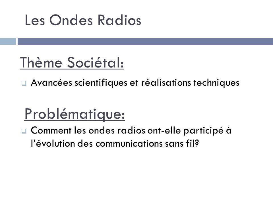 Les Ondes Radios Thème Sociétal: Problématique: