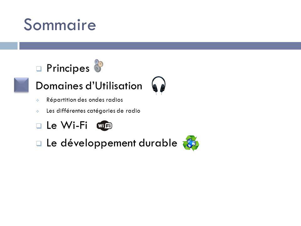 Sommaire Principes Domaines d'Utilisation Le Wi-Fi
