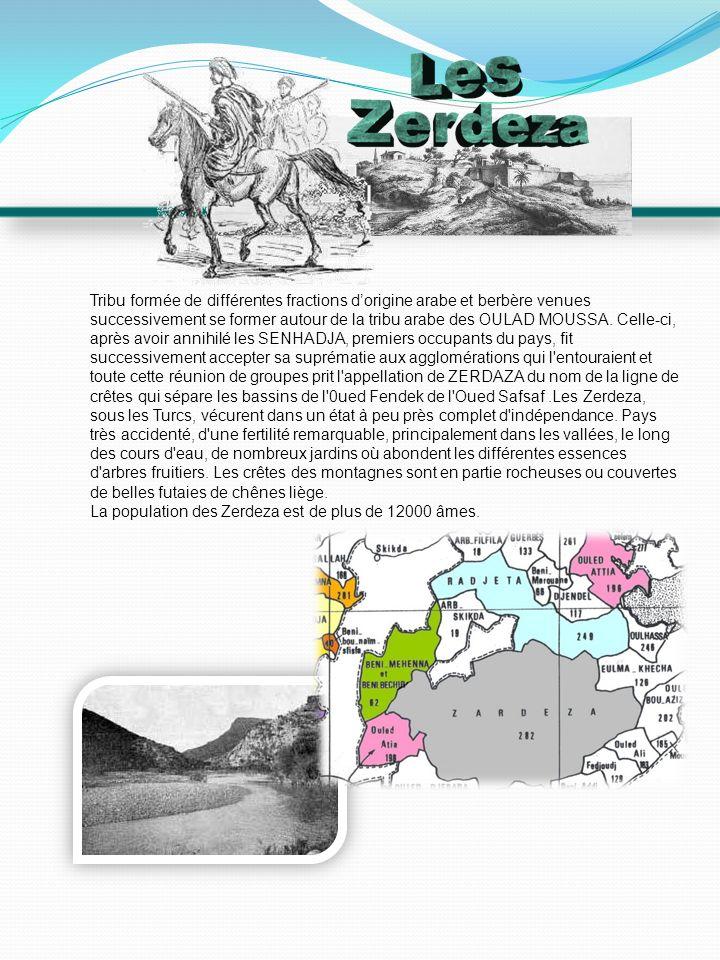 Tribu formée de différentes fractions d'origine arabe et berbère venues successivement se former autour de la tribu arabe des OULAD MOUSSA. Celle-ci, après avoir annihilé les SENHADJA, premiers occupants du pays, fit successivement accepter sa suprématie aux agglomérations qui l entouraient et toute cette réunion de groupes prit l appellation de ZERDAZA du nom de la ligne de crêtes qui sépare les bassins de l 0ued Fendek de l Oued Safsaf .Les Zerdeza, sous les Turcs, vécurent dans un état à peu près complet d indépendance. Pays très accidenté, d une fertilité remarquable, principalement dans les vallées, le long des cours d eau, de nombreux jardins où abondent les différentes essences d arbres fruitiers. Les crêtes des montagnes sont en partie rocheuses ou couvertes de belles futaies de chênes liège.