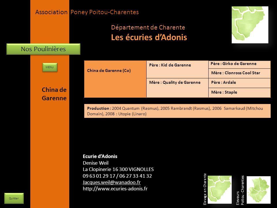 Les écuries d'Adonis Département de Charente Nos Poulinières