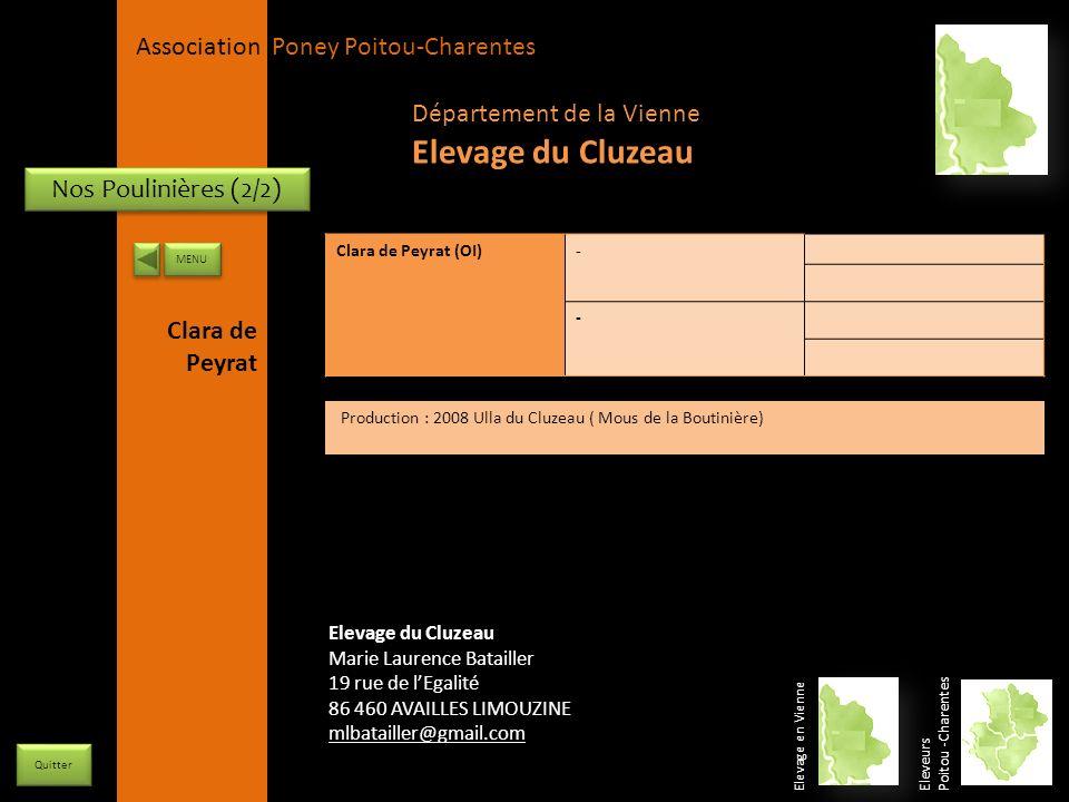 Elevage du Cluzeau Département de la Vienne Nos Poulinières (2/2)