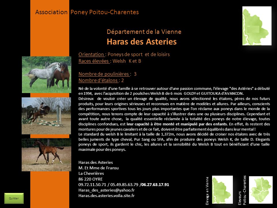 Haras des Asteries Département de la Vienne