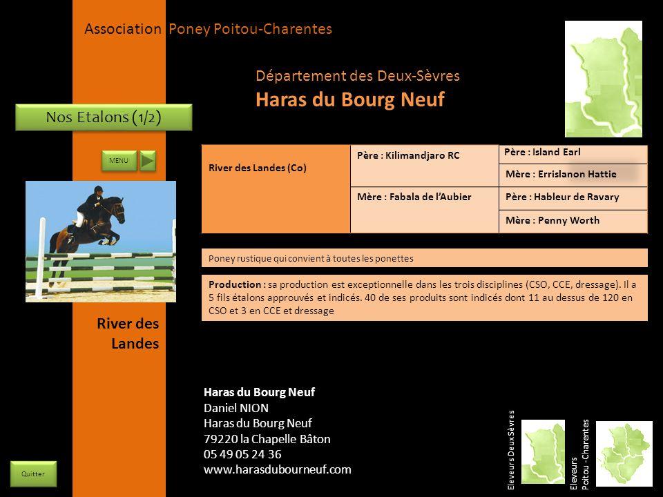 Haras du Bourg Neuf Département des Deux-Sèvres Nos Etalons (1/2)