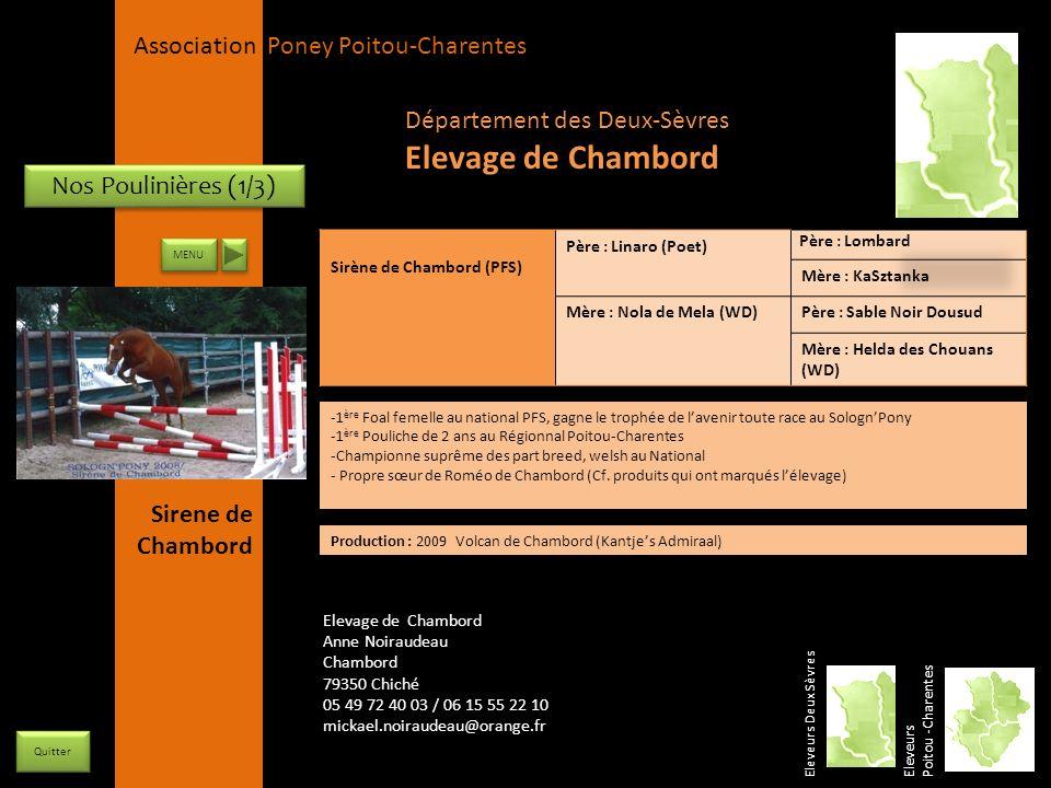 Elevage de Chambord Département des Deux-Sèvres Nos Poulinières (1/3)