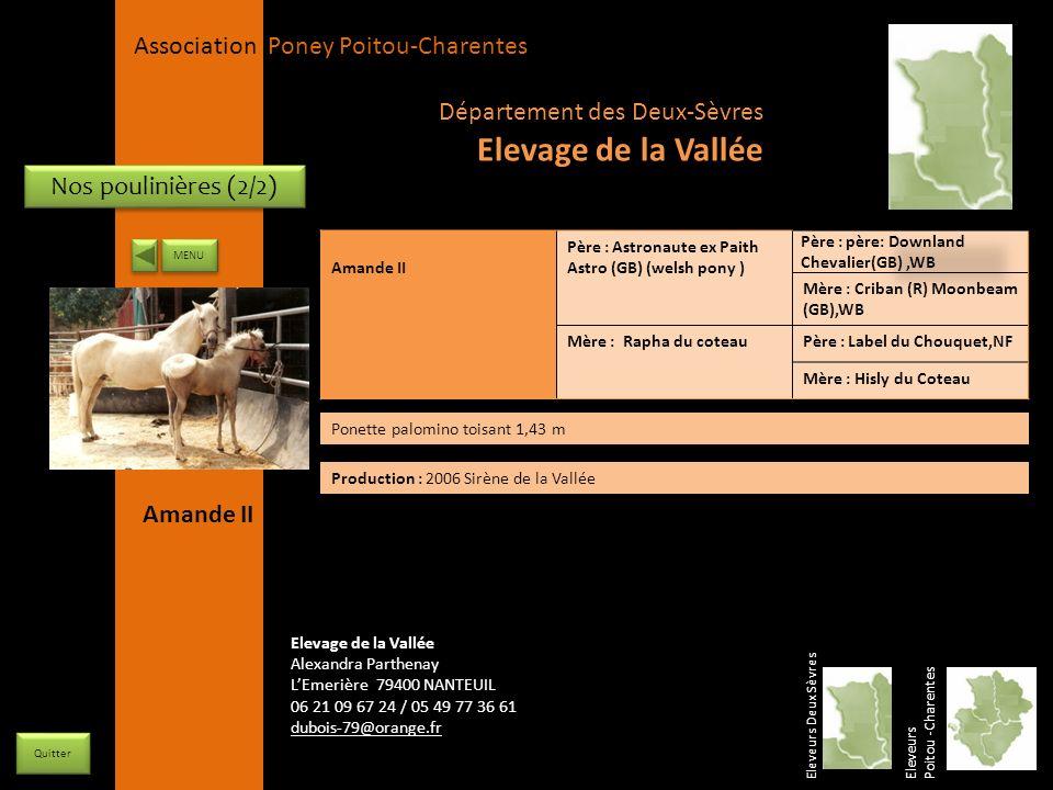 Elevage de la Vallée Département des Deux-Sèvres Nos poulinières (2/2)