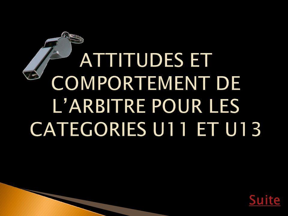ATTITUDES ET COMPORTEMENT DE L'ARBITRE POUR LES CATEGORIES U11 ET U13