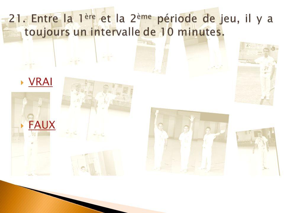 21. Entre la 1ère et la 2ème période de jeu, il y a toujours un intervalle de 10 minutes.
