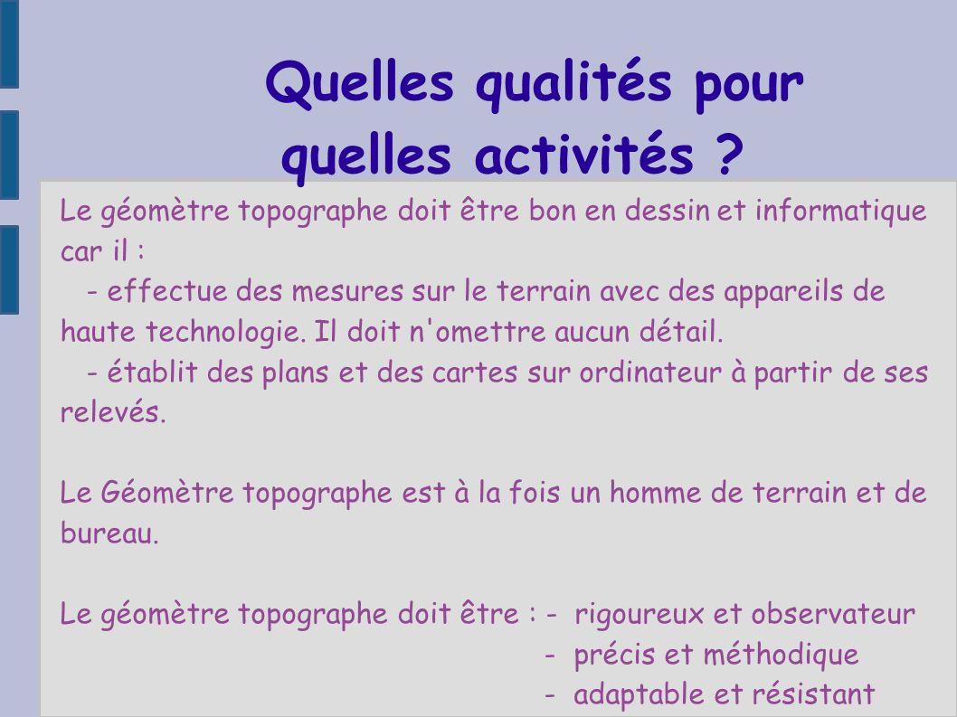 quelles activités Quelles qualités pour