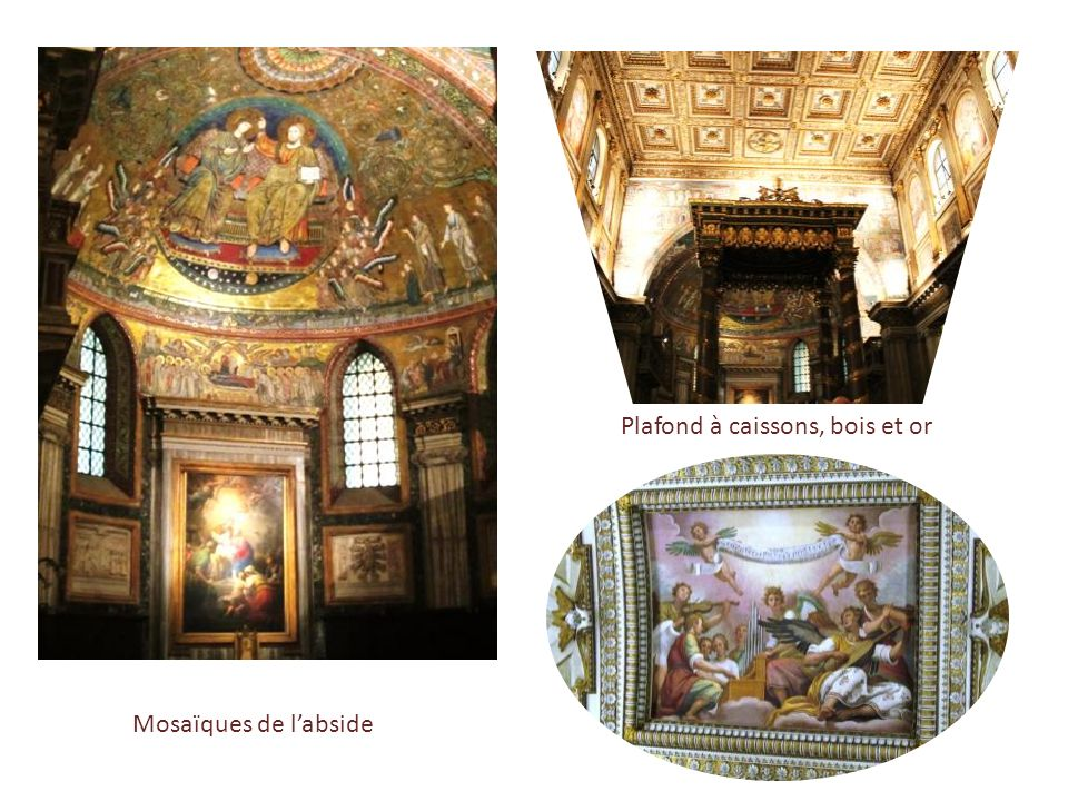 Plafond à caissons, bois et or