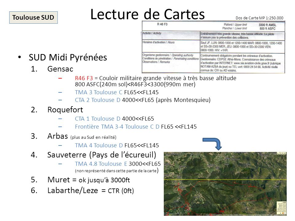Lecture de Cartes SUD Midi Pyrénées Gensac Roquefort