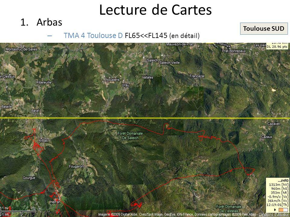 Lecture de Cartes Arbas TMA 4 Toulouse D FL65<<FL145 (en détail)