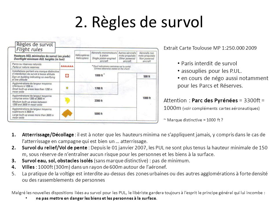 2. Règles de survol Paris interdit de survol assouplies pour les P.UL.