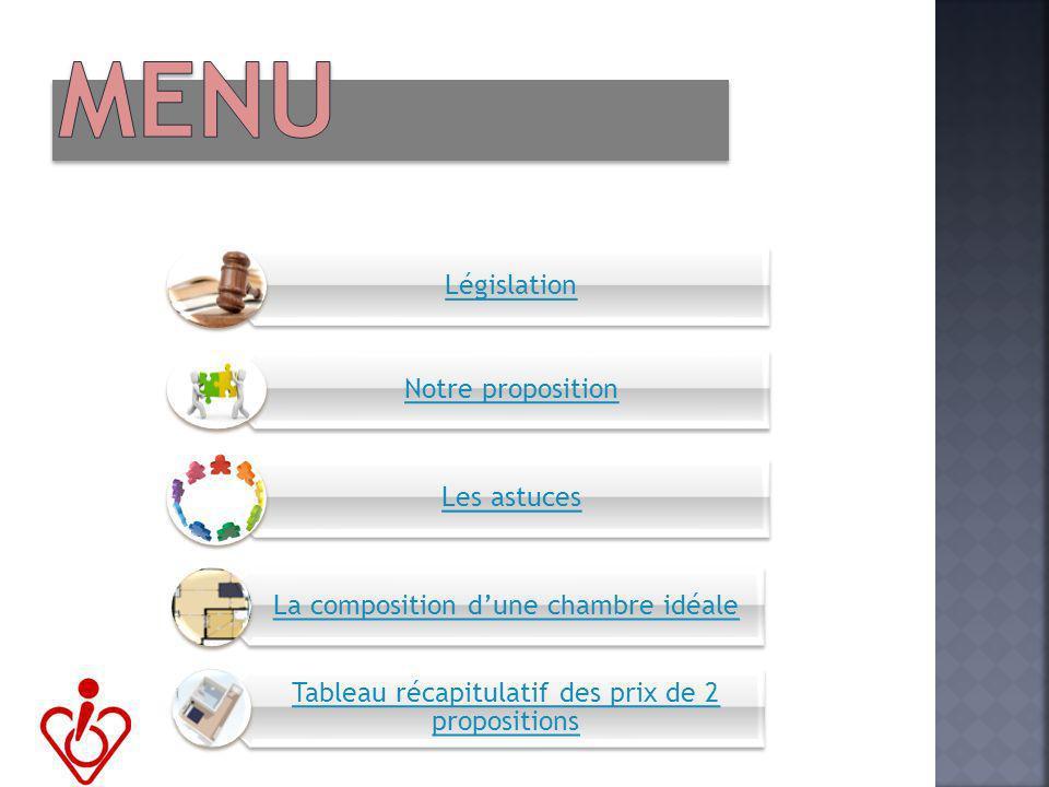 MENU Législation Notre proposition Les astuces