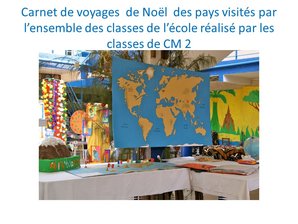 Carnet de voyages de Noël des pays visités par l'ensemble des classes de l'école réalisé par les classes de CM 2