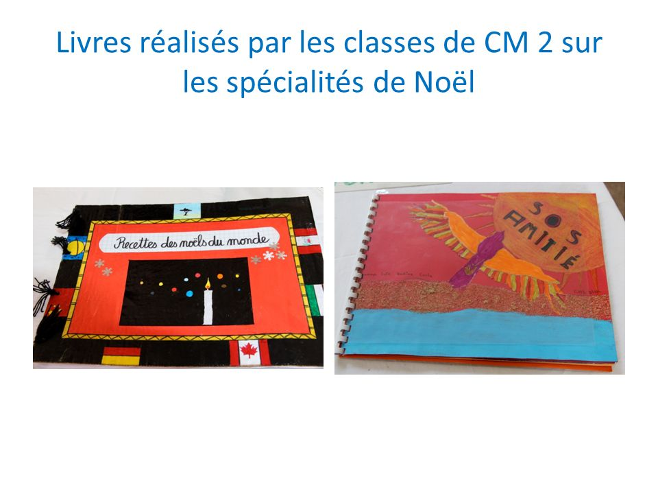 Livres réalisés par les classes de CM 2 sur les spécialités de Noël
