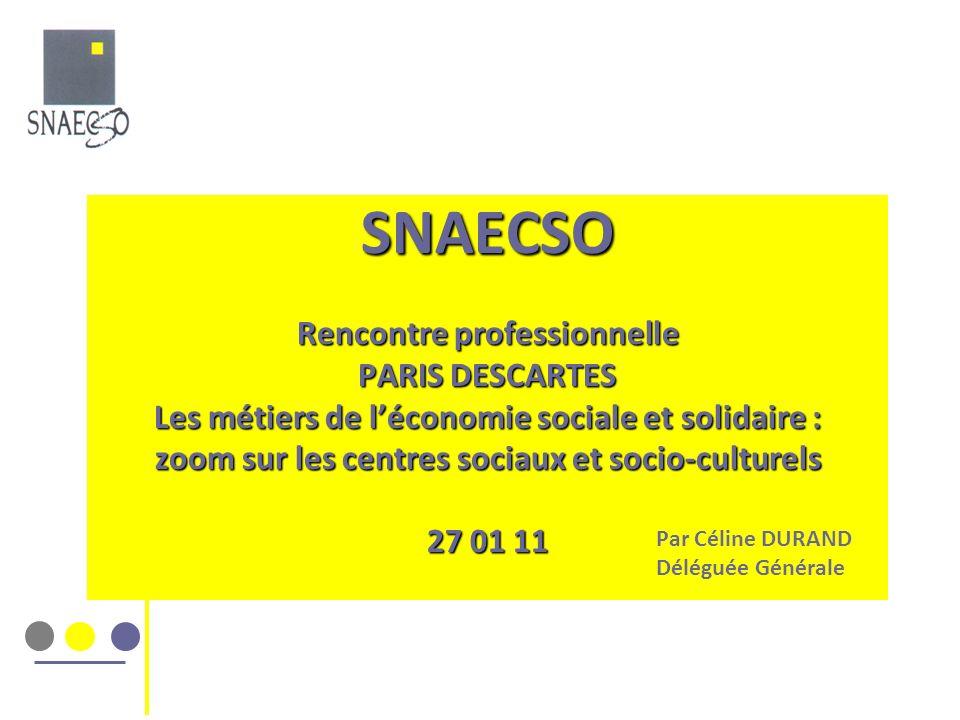 SNAECSO Rencontre professionnelle PARIS DESCARTES Les métiers de l'économie sociale et solidaire : zoom sur les centres sociaux et socio-culturels 27 01 11
