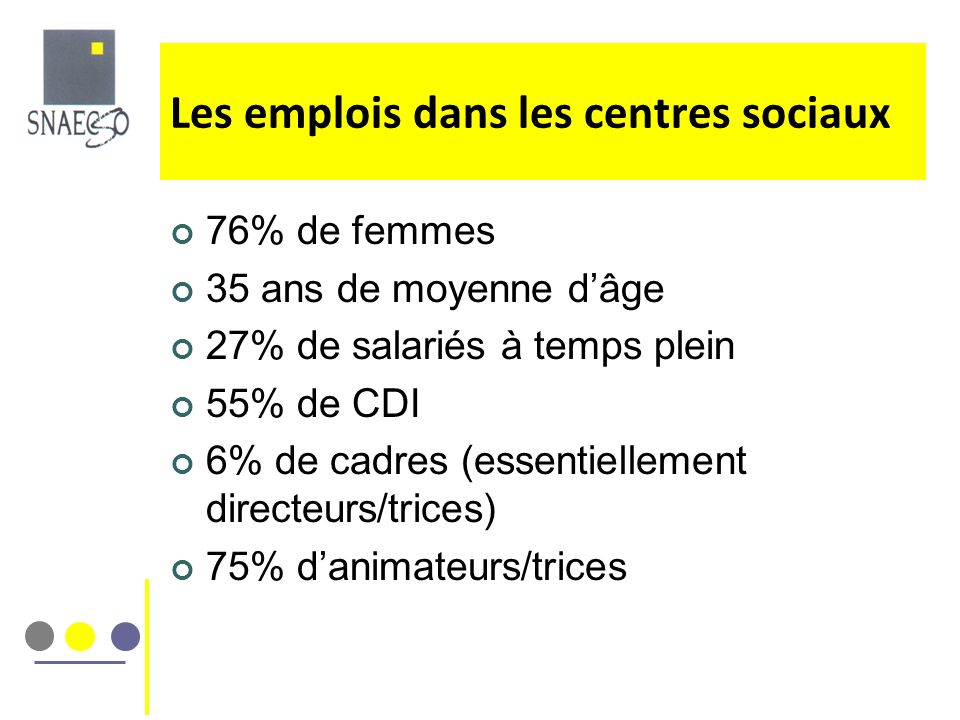 Les emplois dans les centres sociaux