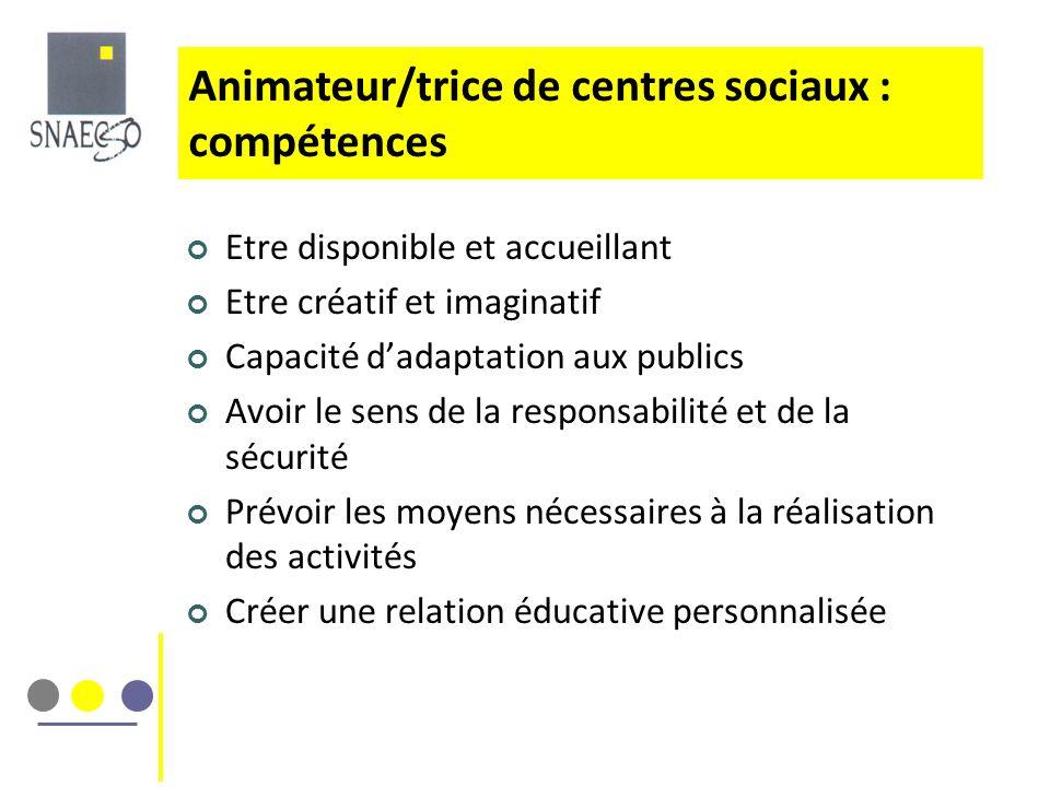 Animateur/trice de centres sociaux : compétences