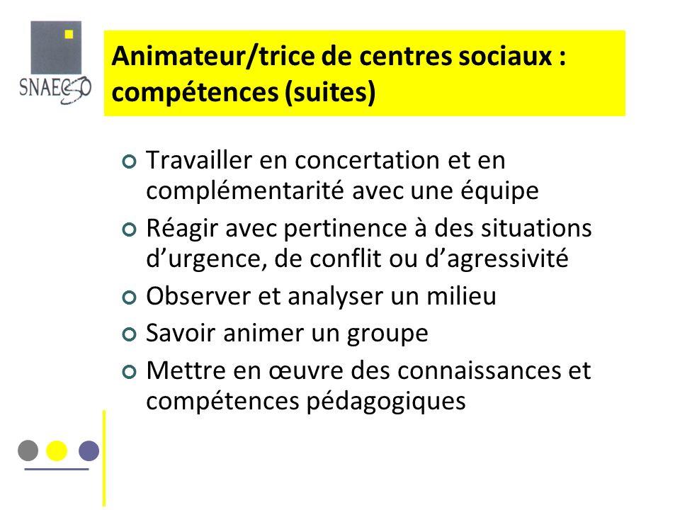 Animateur/trice de centres sociaux : compétences (suites)